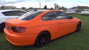 matte black bmw 328i matte orange wrapped bmw 328i with black rims