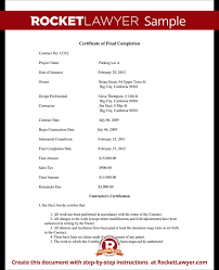 Certification Letter Of Accomplishment Certificate Of Final Completion Form For Construction Project