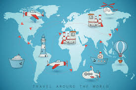 Mali Location On World Map by Travel Icons On The World Map Illustrations Creative Market