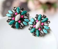 big stud earrings vintage green gem big button stud earrings wholesale