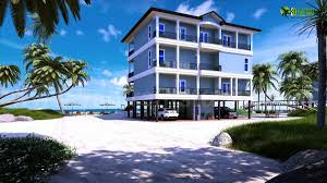 modern 3d exterior beach house rendering perspective view