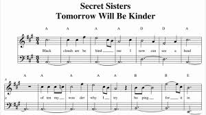 tomorrow will be kinder secret sisters music sheet youtube
