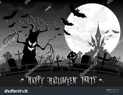 halloween invitations background halloween background monsters trees on old stock vector 488547499