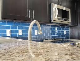 blue glass tile kitchen backsplash cobalt blue glass tile backsplash great home decor bold bright