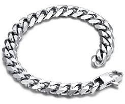 steel chain bracelet images Stainless steel men 39 s polished curb chain bracelet 9 quot silver jpg