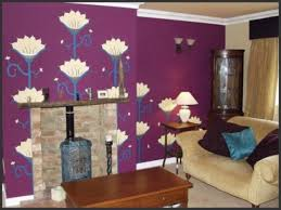 living room inspirational design with purple wall mural buy