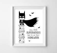 batman kids illustration boys decor black u0026 white wall art