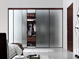 Bipass Closet Doors by Bedroom Frozen Glass Sliding Closet Doors With Brown Wooden Frame
