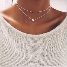silver choker necklace images Boho silver gold tone beaded heart two part choker necklace ebay jpg