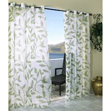 stealing sight white outdoor curtain panels with green leaf
