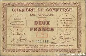 chambre de commerce de calais 2 francs regionalism and miscellaneous calais 1914 jp