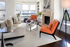 Designer Chairs For Living Room Orange Accent Chair Living Room Contemporary With Area Rug Artwork