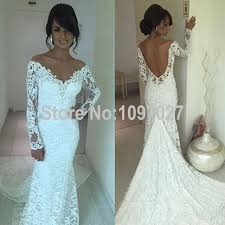 v neck white french wedding lace dress off shoulder long