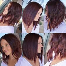 medium length hairstyles with color women u0027s versatile long bob with burgundy color womens medium