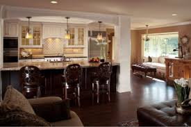 Kitchen And Living Room Open Floor Plans Interesting Simple Country Style Open Kitchen Living Room Open