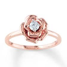 Wedding Rings Rose Gold by Jared Diamond Flower Ring 1 8 Carat Round Cut 10k Rose Gold