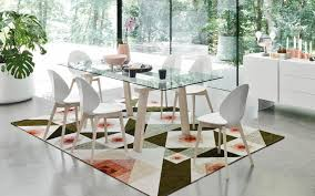 contemporary dining table wooden metal tempered glass