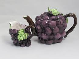 vintage ceramic grape cluster teapot and creamer purple grapes