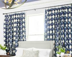 White And Blue Curtains Banana Leaf Curtains Drapes Palm Leaf Curtains Tropical