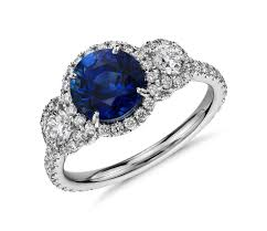 diamonds sapphire rings images Sapphire and diamond halo three stone ring in 18k white gold 2 ct
