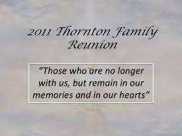 memorial tribute 10th thornton family reunion