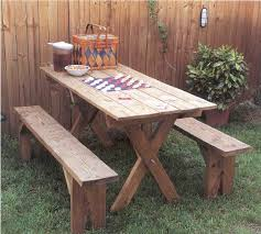 Plans For Wooden Picnic Tables by Picnic Table And Benches Outdoor Wood Plans Immediate Download