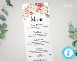 wedding menu template wedding menu template printable menu floral wedding menu