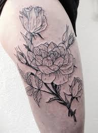 floral thigh tattoo idea