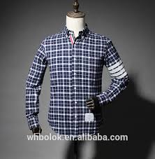 custom boys two color gingham flannel check slim fit shirt for
