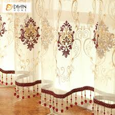 European Lace Curtains European Luxury Italian Velvet Embroidered Valance Drapes