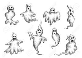halloween background ghosts halloween flying spooks and ghosts on white background sketch
