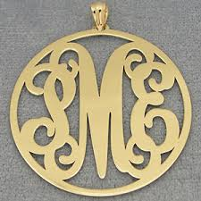 monogram pendants 10k 14k solid gold circle monogram pendant 1 1 2 inch diameter