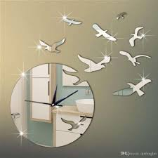 new arrival 3d mirror bird wall stickers clock for home wall decor