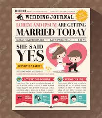 Wedding Invitation Cards Design Cartoon Newspaper Wedding Invitation Card Design U2014 Stock Vector