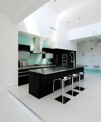 White And Blue Kitchen Cabinets Kitchen Photos Black Appliances Wood Cabinets Black Island Design