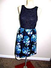 junior speechless sz 13 navy blue sleeveless lace bodice pleated