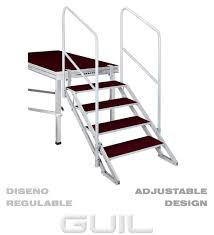 adjustable stairs with 4 steps and 2 handrails height 70cm to
