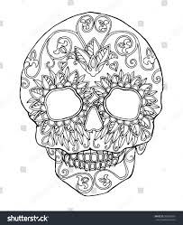 decorated skull day dead flowers design stock vector 398266501