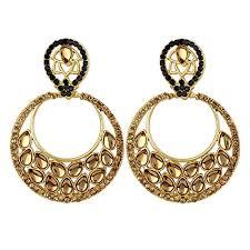 golden earrings styylo fashion exclusive black golden earrings set at glowroad