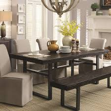 Coaster Dining Room Table Coaster 106941 Keller Rustic Dark Brown Dining Table With Metal