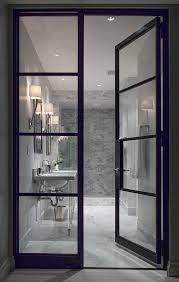 bath door glass white room