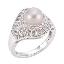 v shape diamond with fresh water pearl ring christine k jewelry freshwater pearl rings pearls