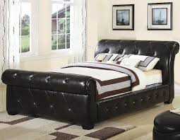 Black Leather Sleigh Bed Leather Sleigh Bed Home Design The Leather