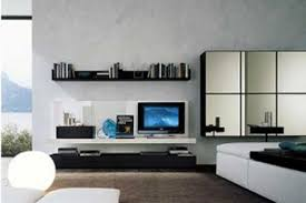 trendy black white wood wall mounted tv cabinet aside mirrored