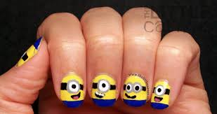 easy nail art characters marvelous easy diy minion nail art design with eyes image for trend