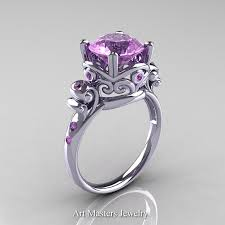 amethyst engagement rings modern vintage 14k white gold 2 5 carat lilac amethyst wedding