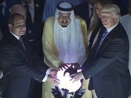 Donald Trump Meme - a meme is born donald trump touches glowing orb with middle east