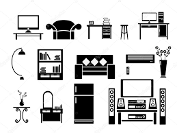 Living Room Clipart Black And White Living Room Icon Set Vector Illustration U2014 Stock Vector Manopjk