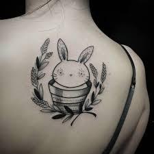 100 small rabbit tattoo uncolored horned rabbit portrait