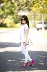 all white casual white pink